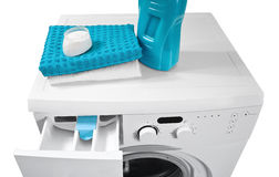 Washing machine. And laundry powder for washing Stock Images
