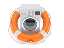 Washing machine with life buoy. On white background Stock Photos