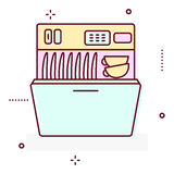 Washing machine line style vector icon. Royalty Free Stock Photography