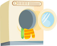 Washing machine loaded with clothes Royalty Free Stock Photos