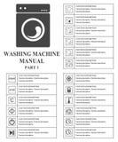 Washing machine manual symbols. Part 1 Instructions. Signs and symbols for washing machine exploitation manual. Instructions and f. Unction description. Vector Royalty Free Stock Photo