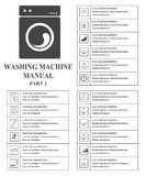 Washing machine manual symbols. Part 2 Instructions. Signs and symbols for washing machine exploitation manual. Instructions and f Stock Image