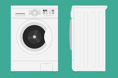 Washing machine with open and closed door icon. Vector illustration in flat style royalty free illustration