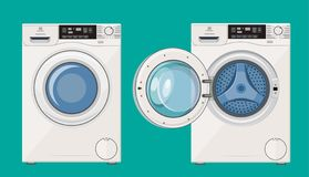 Washing machine with open and closed door. Icon. Vector illustration in flat style stock illustration