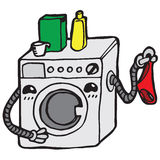 Washing machine. With powder and cowards Royalty Free Stock Photography