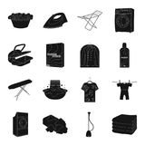 Washing machine, powder, iron and other equipment. Dry cleaning set collection icons in black style vector symbol stock Royalty Free Stock Image