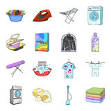 Washing machine, powder, iron and other equipment. Dry cleaning set collection icons in cartoon style vector symbol Royalty Free Stock Photos