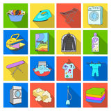 Washing machine, powder, iron and other equipment. Dry cleaning set collection icons in flat style vector symbol stock Stock Photos