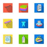 Washing machine, powder, iron and other equipment. Dry cleaning set collection icons in flat style vector symbol stock Stock Photography