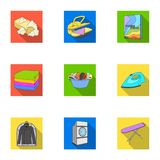 Washing machine, powder, iron and other equipment. Dry cleaning set collection icons in flat style vector symbol stock Royalty Free Stock Photos