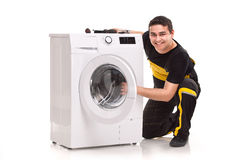 Washing machine repairman Stock Photo