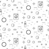 Washing machine and soap bubbles thin line seamless pattern. Stock Photography