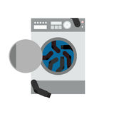 Washing machine and socks. Vector illustration Royalty Free Stock Photography