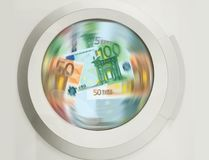 Washing machine cleaning lots of Euro banknotes - concpt showing money laundering, dirty money, hidden wages, salaries black payme. Washing machine speed Royalty Free Stock Photo