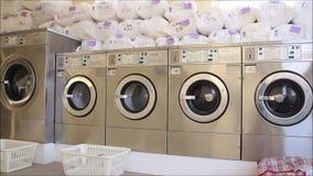 Washing machine spinning tubs stock video footage
