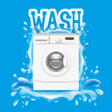 Washing machine and splash of water. Royalty Free Stock Images