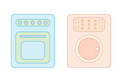 Washing machine and stove Royalty Free Stock Photography