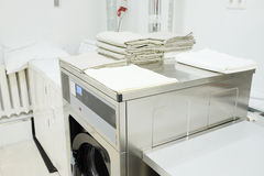 Washing machine. With a towel royalty free stock photos