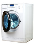 The washing machine on a white background Stock Photos