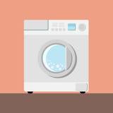 Washing machine. White washing machine on a pink backround Royalty Free Stock Photo