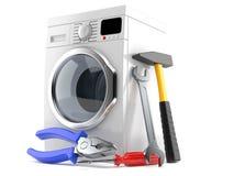 Washing machine with work tools. Isolated on white background Stock Image