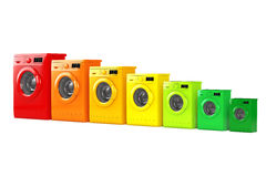 Washing Machines in Colours of Energy Efficiency Chart. 3d Rende Stock Photos