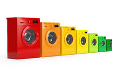 Washing Machines in Colours of Energy Efficiency Chart. 3d Rende Royalty Free Stock Photography