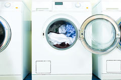 Washing machines in a laundry Royalty Free Stock Photos