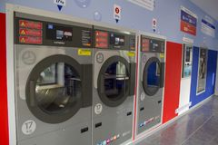 Washing machines in the self service laundry.  stock photo