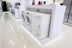 Washing mashines in appliance store Stock Image