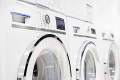 Washing mashines in appliance store Royalty Free Stock Images