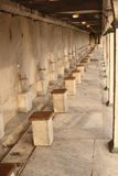 The washing place. Line of taps outside of the Blue Mosque in Istanbul, Turkey Stock Image