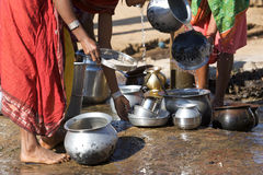 Washing pots Royalty Free Stock Image