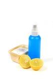 Washing powder. Beautiful shot of scoop full of washing powder and lemon Stock Image