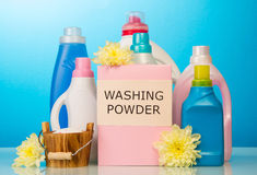 Washing powder and Cleaning items Royalty Free Stock Photo