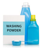 Washing powder and Cleaning items in blue tones Royalty Free Stock Photography