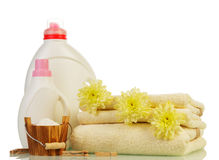 Washing powder and Cleaning items with flowers Royalty Free Stock Images