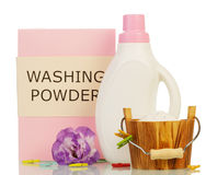 Washing powder and Cleaning items with violet Royalty Free Stock Photos