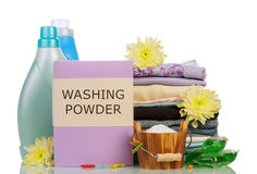 Washing powder and cleaning items Royalty Free Stock Images