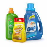 Washing powder and detergent bottles Stock Images