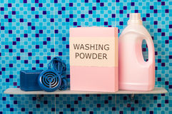 Washing powder and Hygiene cleanser. Washing powder and Hygiene liquid cleanser on bathroom shelf Stock Images