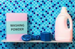Washing powder and Hygiene cleanser. Washing powder and Hygiene liquid cleanser on bathroom shelf Stock Photos