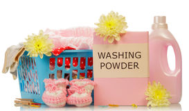 Washing powder and towels Stock Photography