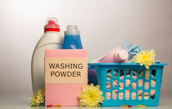 Washing powder and towels Royalty Free Stock Images