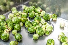 Washing raw Brussels sprouts in kitchen sink.  stock image