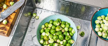 Washing raw Brussels sprouts in kitchen sink.  royalty free stock images