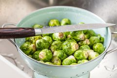 Washing raw Brussels sprouts in kitchen sink.  stock photos
