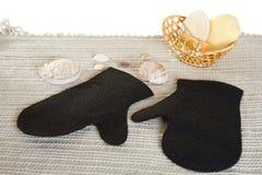 Washing sauna set. Sauna set - pair of bathing mittens, salt and soap bar Stock Images