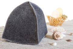 Washing sauna set. Sauna set - woolen hat, salt and soap bar Royalty Free Stock Image