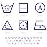 Washing signs icon set. An illustration of washing , cloth symbols of ironing, washing ,drying and bleaching Royalty Free Stock Photography